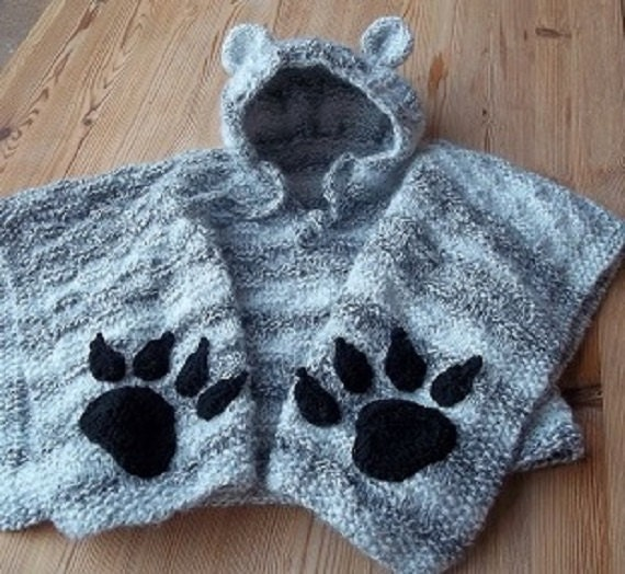 Baby Knitted Hooded Poncho Handmade Baby Boy Or Girl Cape With Ears And Crochet Claws