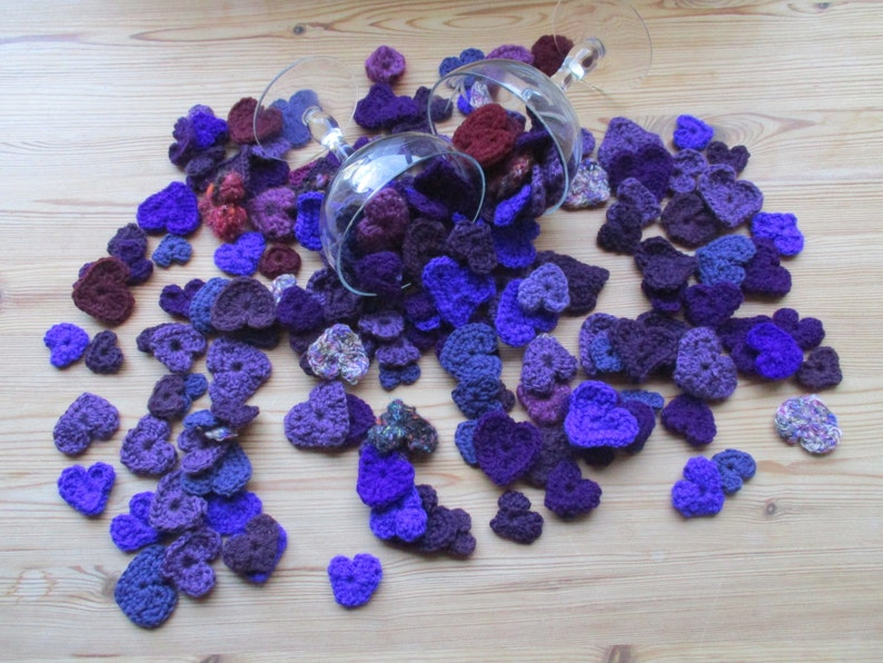 flat lay prop idea crochet hearts Valentine craft supply crochet love patches heart applique flatlay prop handmade heart notion