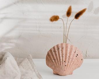 Scallop shell terrazzo vase