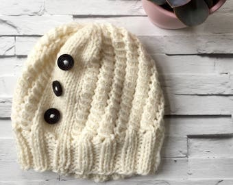 Womens Cream Winter Wool Hat Beanie Wood Buttons - Rustic Moose Company