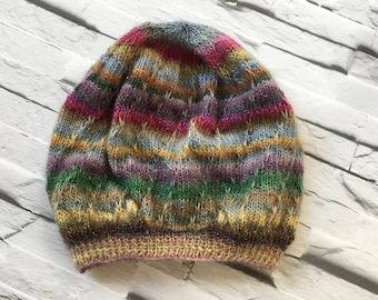 497ce9f1dd5 Womens Knitted Hat-Beanie-Knitted Hat-Multicolour-Merino-Hat-Beanie-Slouchy  Hat-Slouchy Beanie-Rustic Moose Company