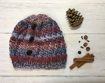 aa5aec90b6c Women s Knitted Hat - Chunky Knit Beanie - Knitted Hat - Multicolour Hat -  Stripy Hat - Rustic Moose Company