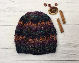 5e80d33f519 Women s Knitted Hat - Chunky Knit Beanie - Knitted Hat - Navy Multicolour  Stripe Hat - Rustic Moose Company