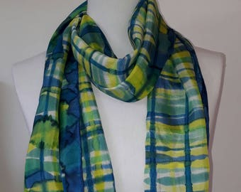Silk scarves,handpainted silk scarf,green and blue silk scarf,ladies scarf,mothers gift, womans gift,handyed silk,soft scarf,light scarf.