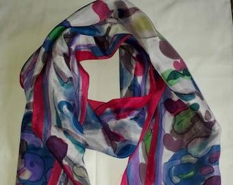 Silk scarf,handpainted colourful scarf,pink scarf, handmade,blue scarf,silk scarves,scarves,womans gift,silk scarves Australia,Silkincolour