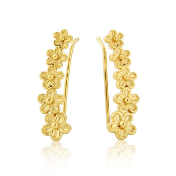 Yellow Gold Vermeil Garland Flower Hoops