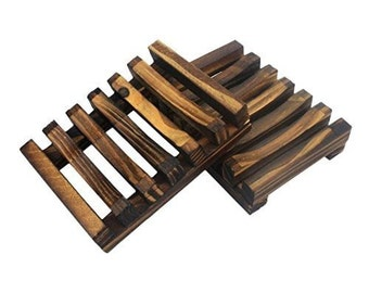 Set of Two Handmade Wooden Soap Dish, Wooden Soap Holders, Soap Trays