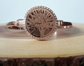 On Sale Tree of Life Aromatherapy Diffuser Bracelet Rose Gold, Essential Oil Diffuser Bracelet, Perfume Locket Bracelet