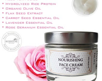 Natural Face Cream with Carrot Seed, Lavender & Rose, Face Nourishing Cream, Vegan Face Cream, Gifts for Her