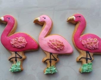 Flamingo cookies, Pink Flamingo favours, Summer party favors,
