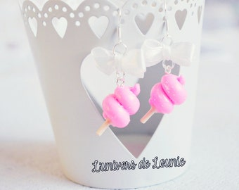 Cotton candy Candy Floss earrings handmade Cute Kawaii