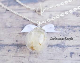 Dandelion necklace / seed / Egret / Nature / wish