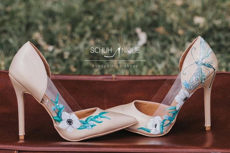 Handbemalte High Heels, Außergewöhnliche Schuhe Gr.38