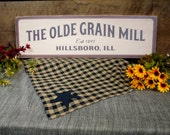 Retro Signs The Olde Grain Mill Est 1891 Date Town Rustic Store Sign Designed Vintage Look All Wood Custom Changes Free 100 USA Handmade