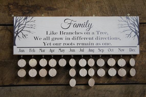 Family Birthday Calendar Family Rustic Style All Wood Calendar Etsy