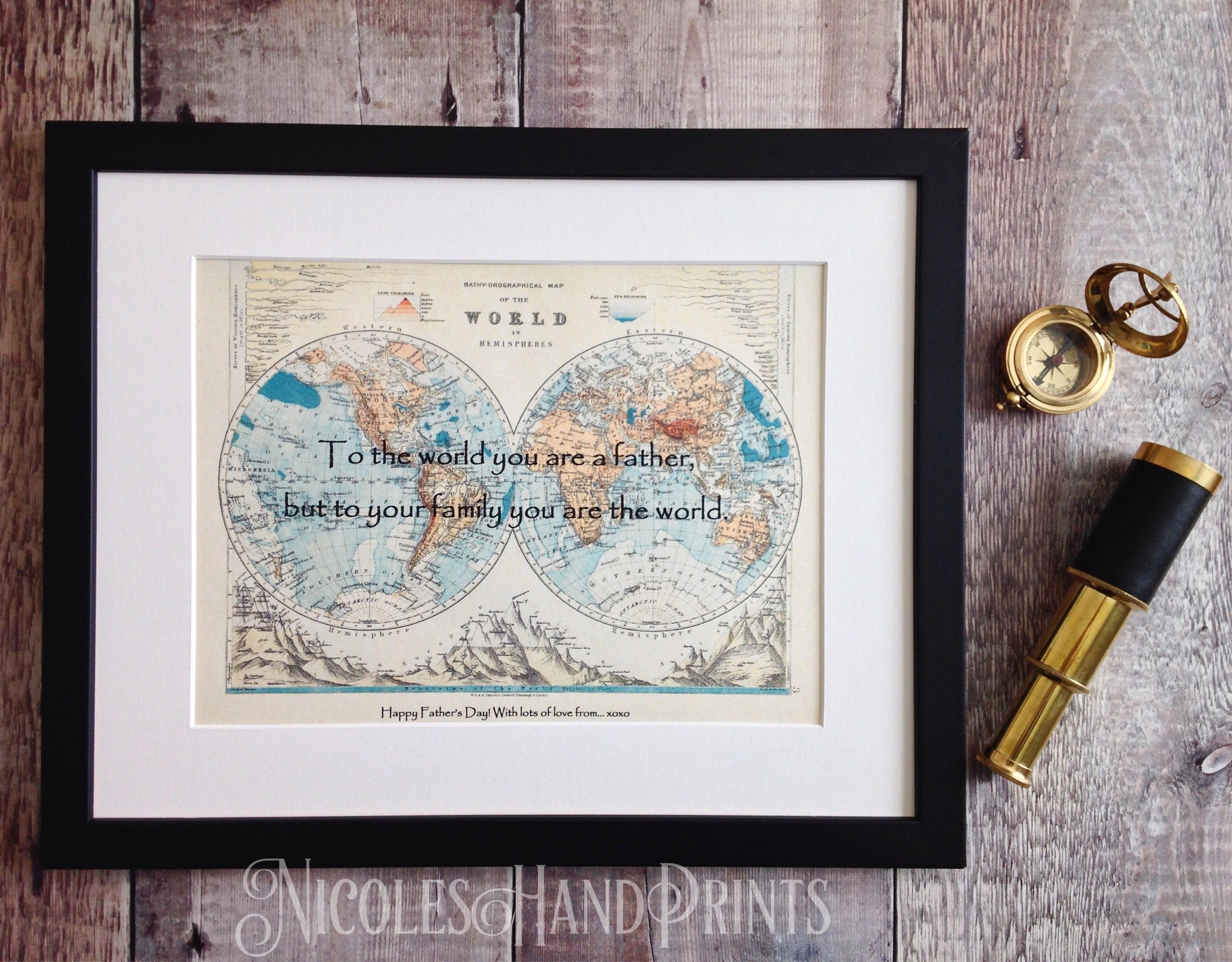 Personalised world map print fathers day gift birthday present for 1 gumiabroncs Choice Image