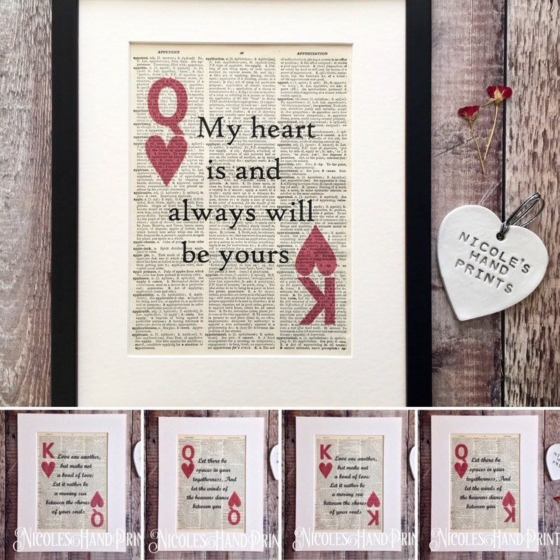 King And Queen Of Hearts Love Quote Print 1st Wedding Etsy