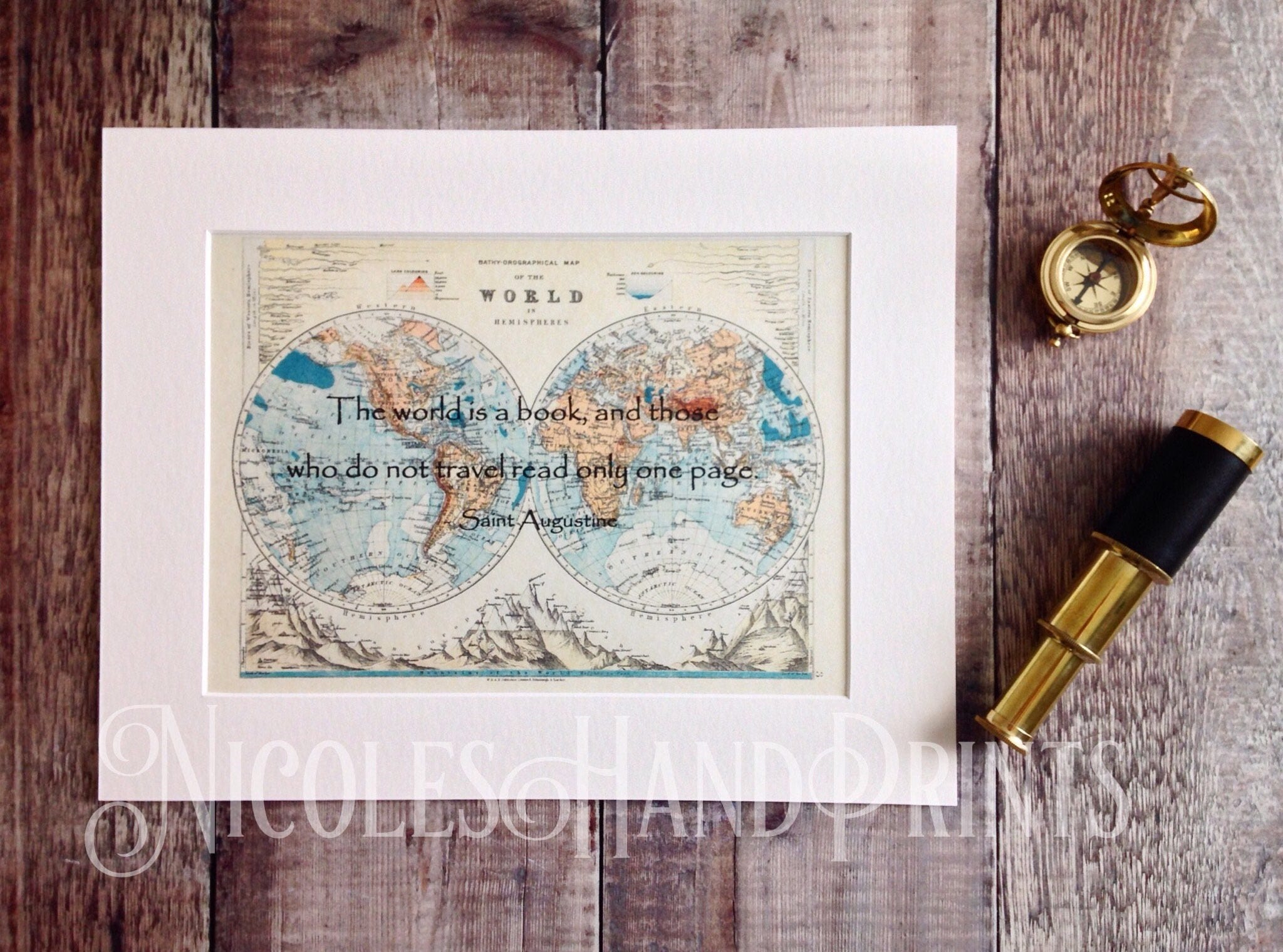 Old world map print travel quote the world is a book vintage old world map print travel quote the world is a book vintage world map travel poster travel gift st augustine custom world map print gumiabroncs Gallery