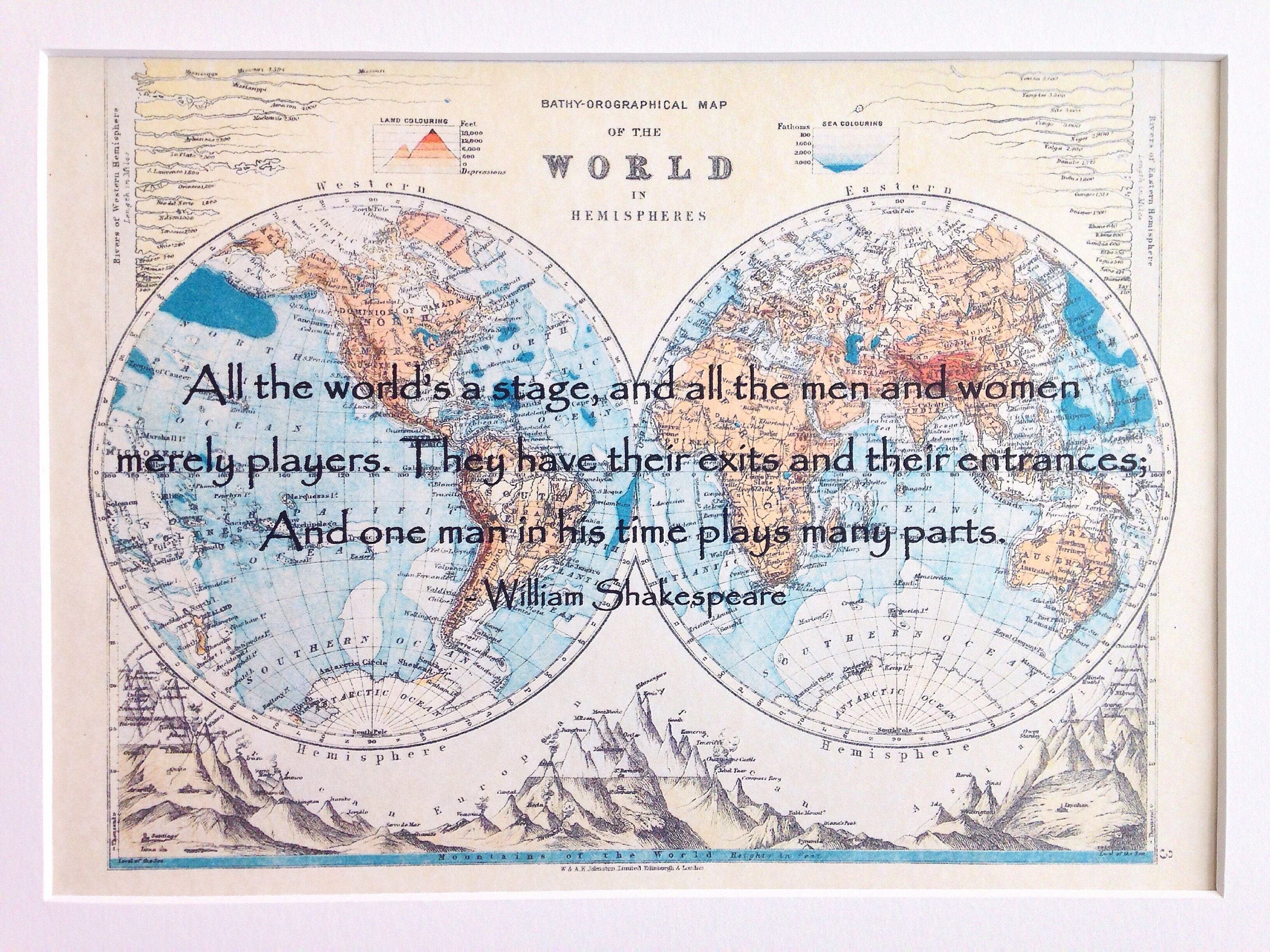 Shakespeare quote print personalised map gift all the worlds a shakespeare quote print personalised map gift all the worlds a stage vintage world map print as you like it thespian literary gift gumiabroncs Image collections