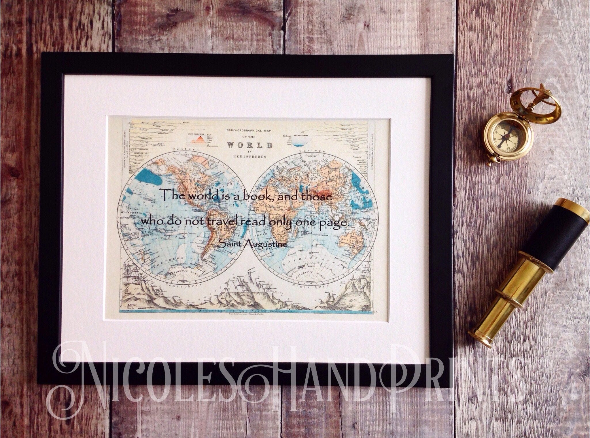 Old world map print travel quote the world is a book vintage 1 gumiabroncs Image collections