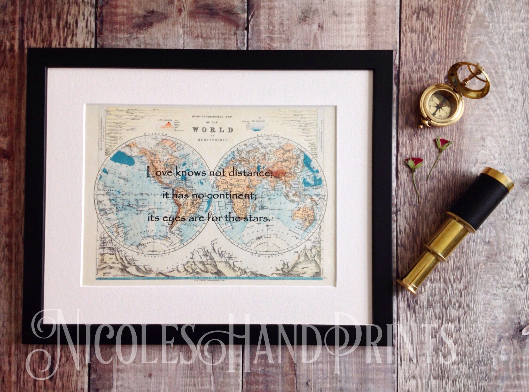 Vintage old world map print love quote gifts map gifts romantic 1 gumiabroncs Choice Image