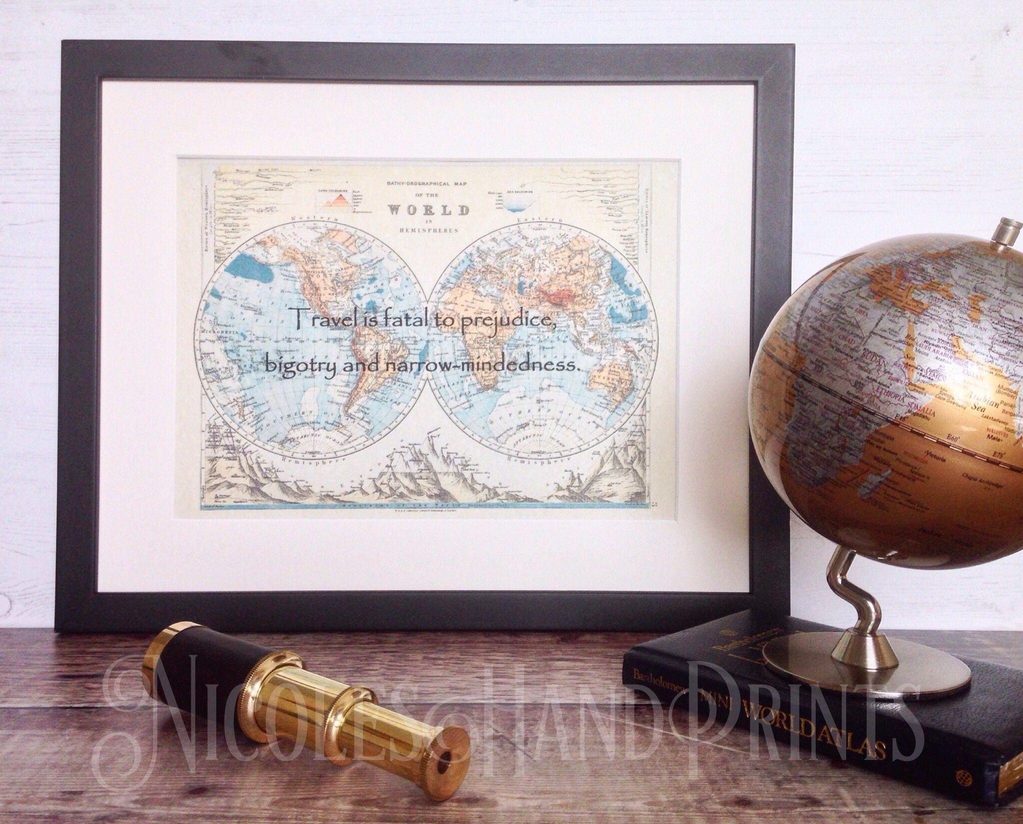 Vintage Old World Map Print Travel Gift Mark Twain Quote Travel - World map to mark travels