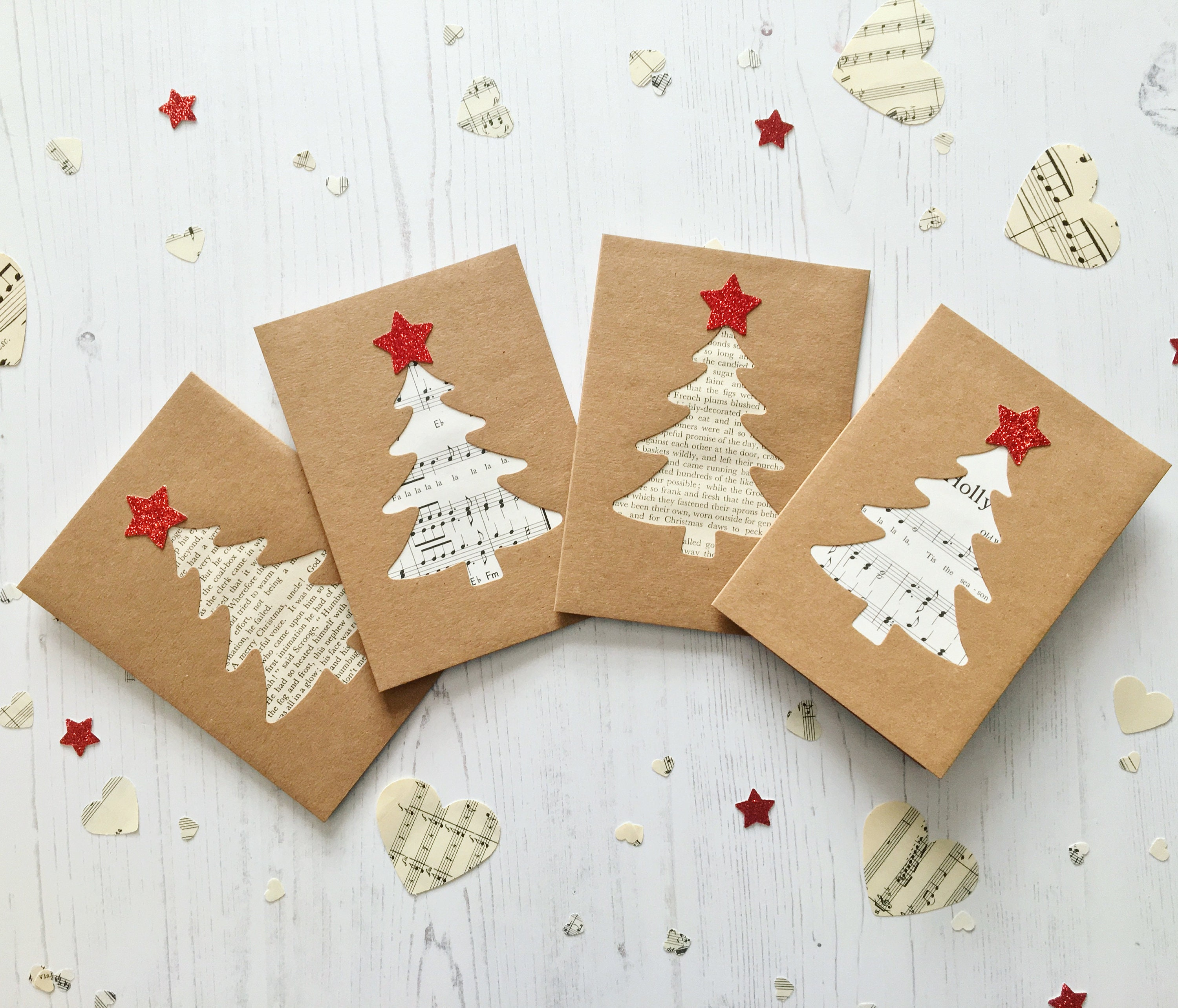 Handmade Christmas Cards 4 Pack, 2 Of Each Tree Design, Luxury Kraft ...