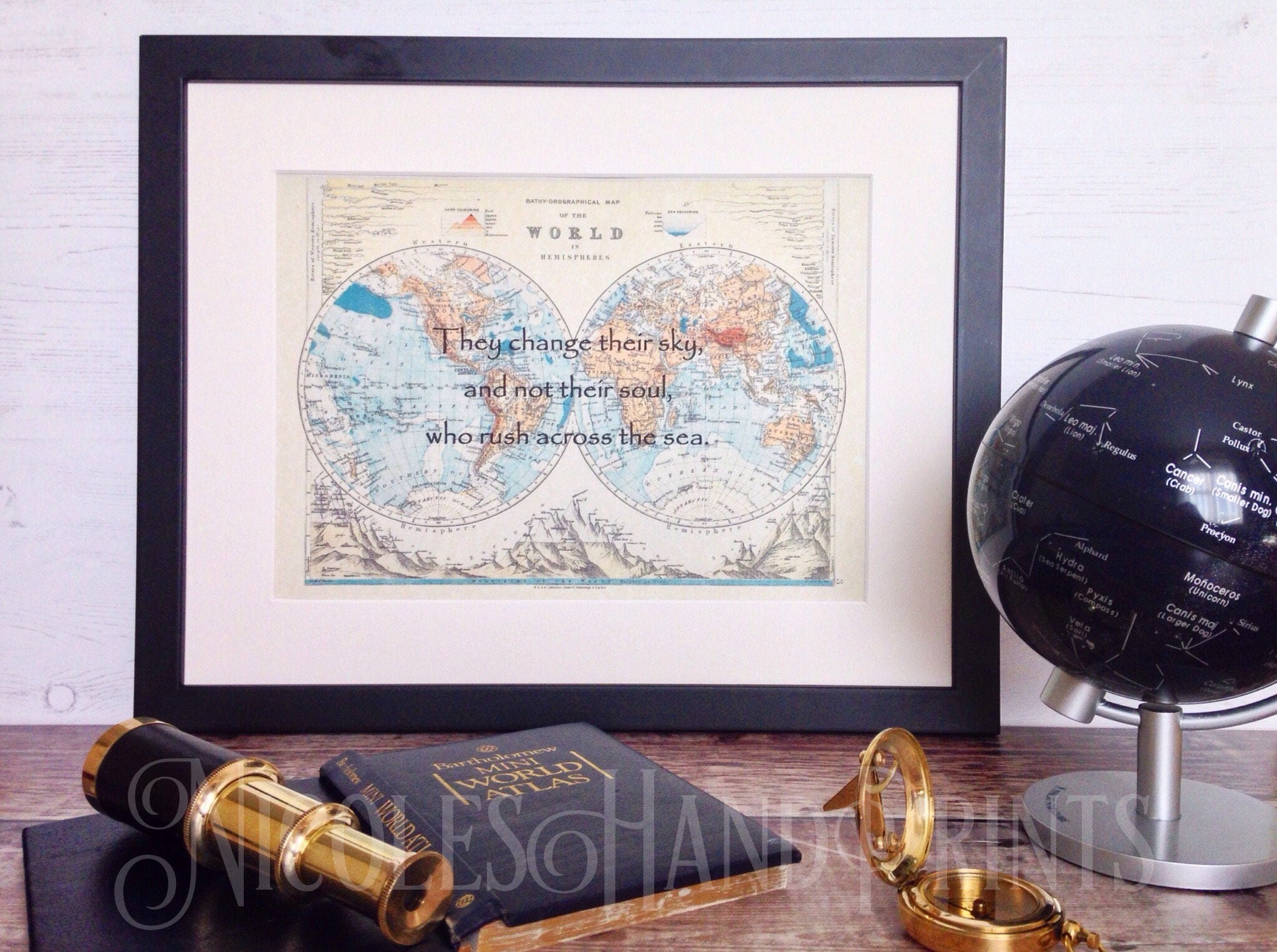 Vintage old world map print travel quote poster custom world map vintage old world map print travel quote poster custom world map print gift for traveler old map of the world map wall art travel gift gumiabroncs Images