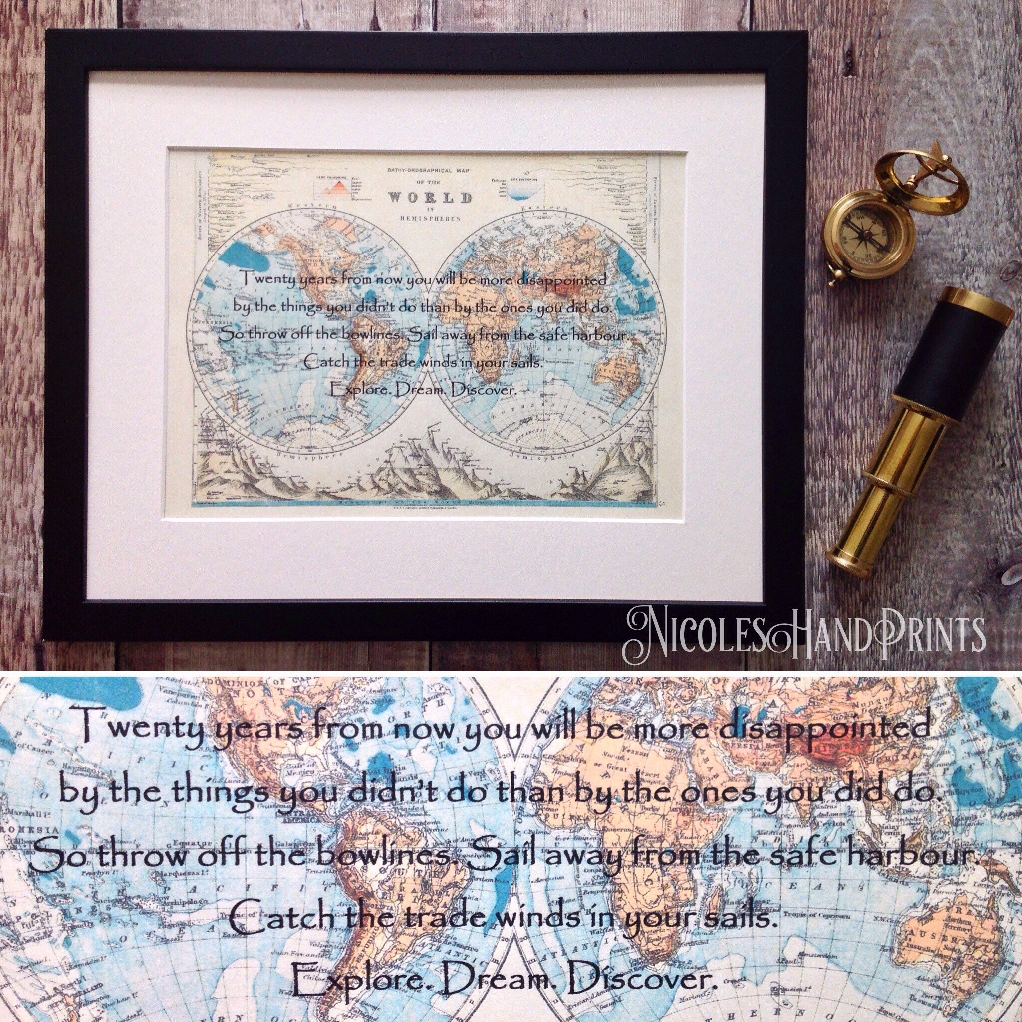 Inspiring Mark Twain Quote Twenty Years From Now Explore Dream - World map to mark your travels