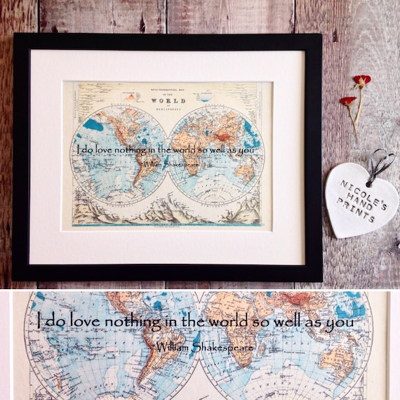 Personalised 1st wedding anniversary old world map print gift etsy image 0 gumiabroncs Choice Image
