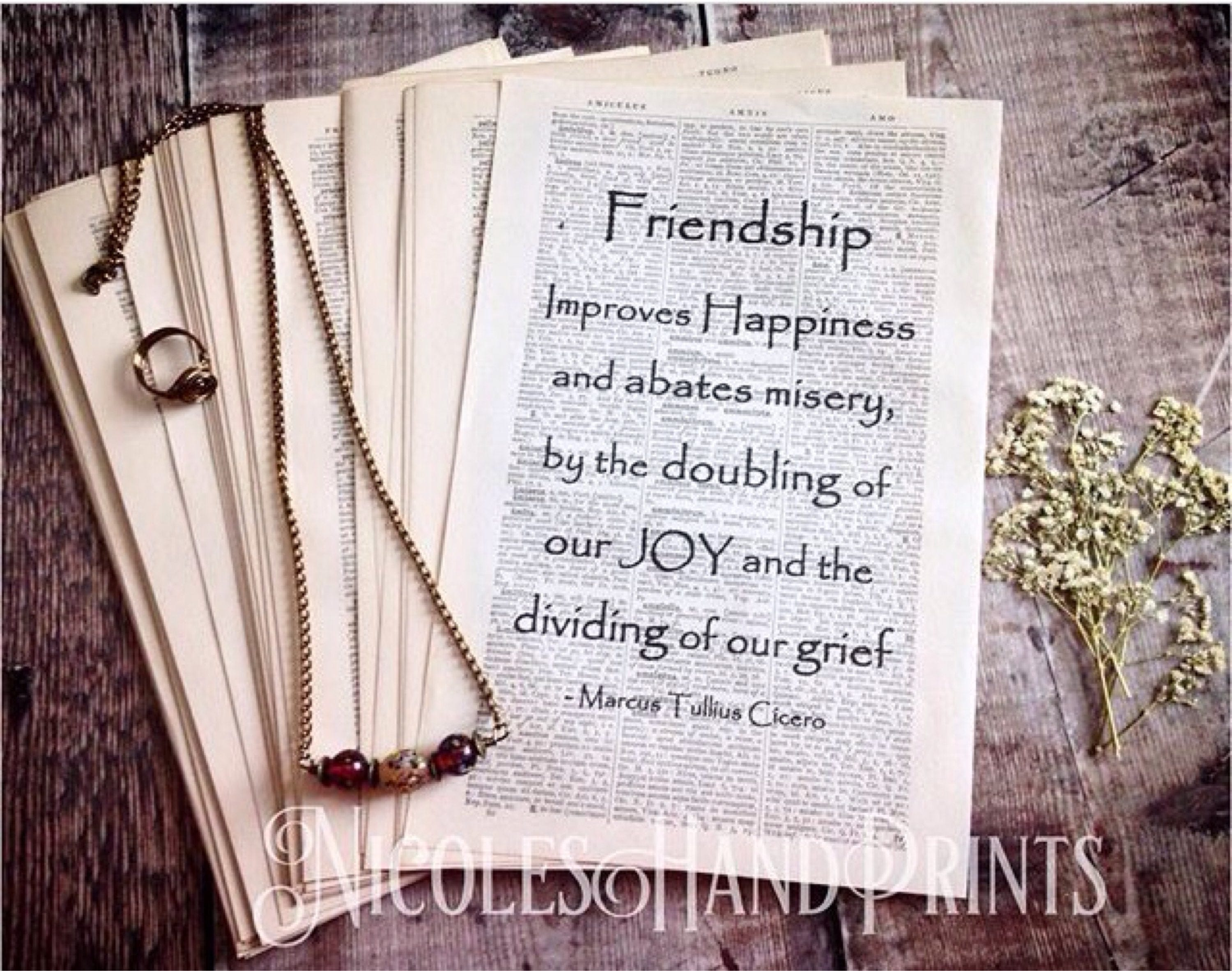 Thoughtful Gift For Friend, Latin Quotes, 19th Century Print, Vintage  Paper, Friendship Quote Print, Cicero Quote, Old Paper, Ooak, Upcycled