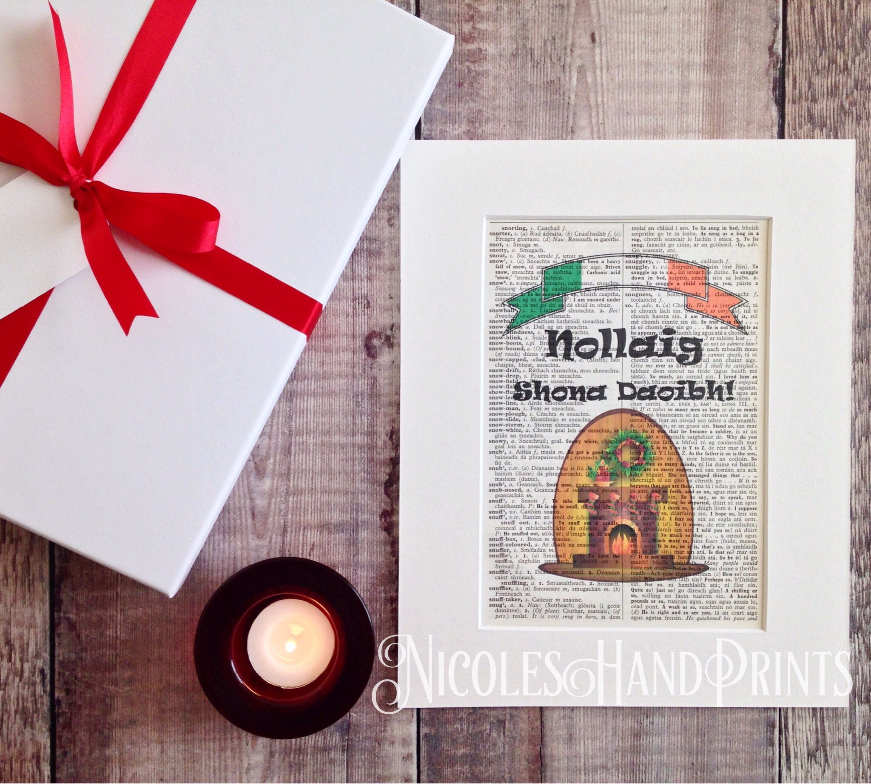 Irish Christmas Blessing.Irish Christmas Blessing Nollaig Christmas Print Irish Art