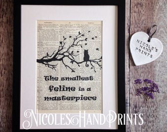 Vintage Cat Print, Cat lover gift, Cat Gift for Mum, Cat Quote Poster, Cute Cat Picture, Leonardo Da Vinci Quote, Black Cat Silhouette Print