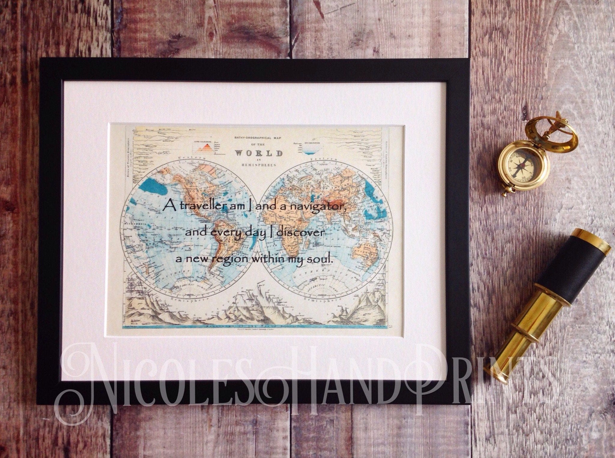 Old World Map Print Khalil Gibran Quote Philosophy Gifts Travel Gift