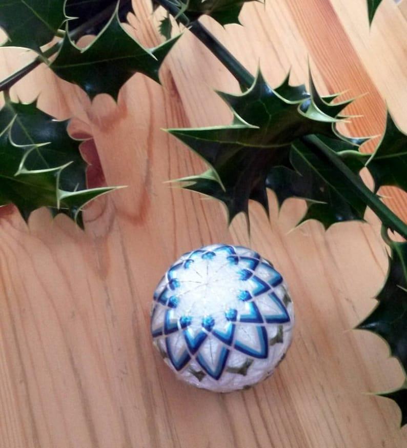 Blue Christmas ornament Japanese mini Temari Embroidered ...