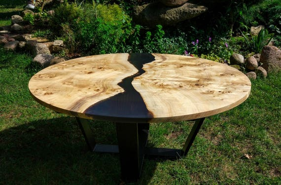 Live Edge Big Round River Coffee Table With Epoxy Resin Etsy