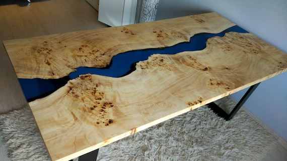Sold Blue River Table With Epoxy Inlay Sold