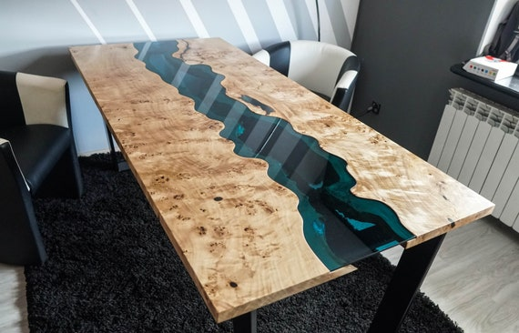 Live Edge River Table With Epoxy Resin Mappa Burl Etsy