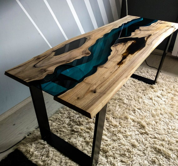 Sold Live Edge Walnut River Table With Black Epoxy Resin