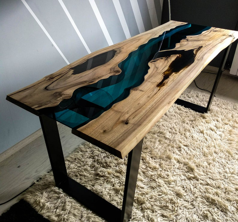 SOLD Live edge walnut river table with black epoxy resin SOLD