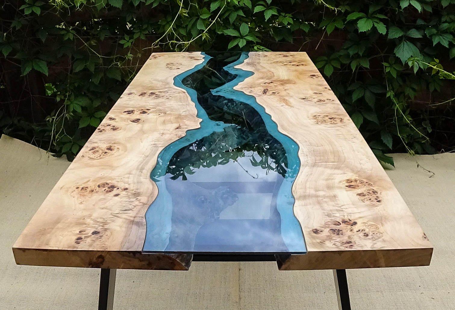 table de rivi re du bord live vendu avec une r sine poxy. Black Bedroom Furniture Sets. Home Design Ideas
