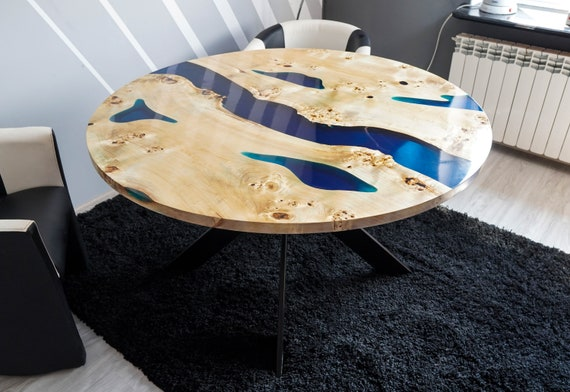 Blue River Round Table With Epoxy Inlay Mappa Burl 133cm Etsy