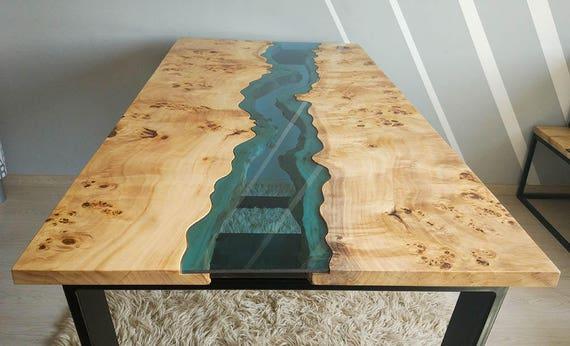 verkauft live rand fluss tisch mit epoxidharz verkauft etsy. Black Bedroom Furniture Sets. Home Design Ideas