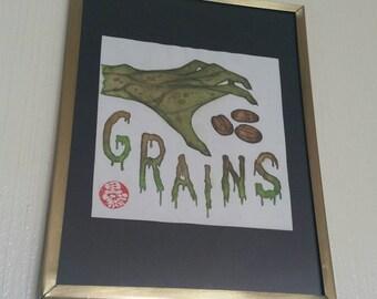"""Framed original watercolor """"Grains"""""""