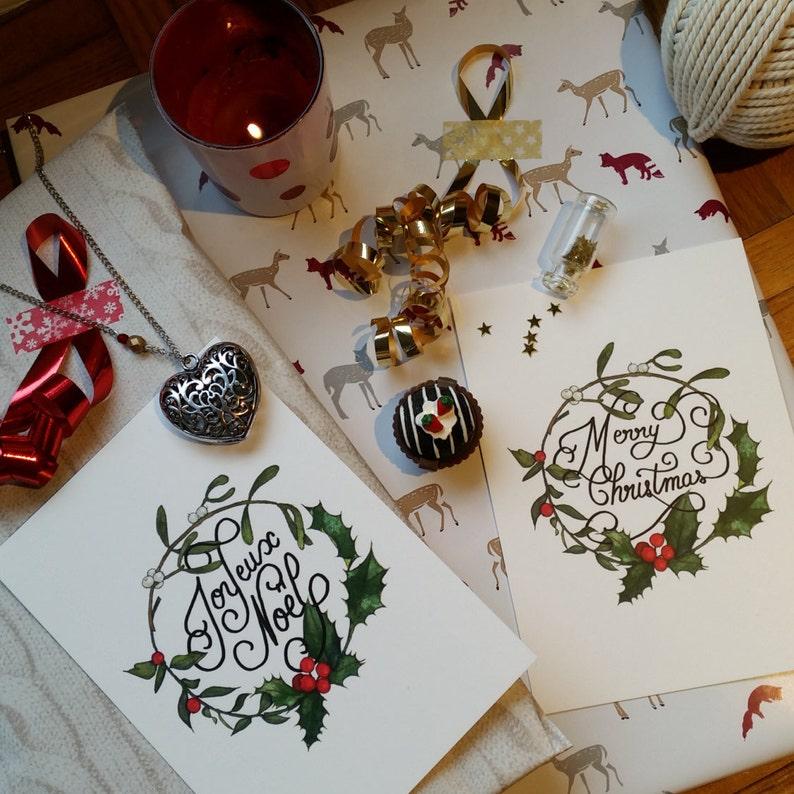 Buon Natale In Inglese.Cartolina Di Natale Buon Natale Francese O In Inglese Etsy