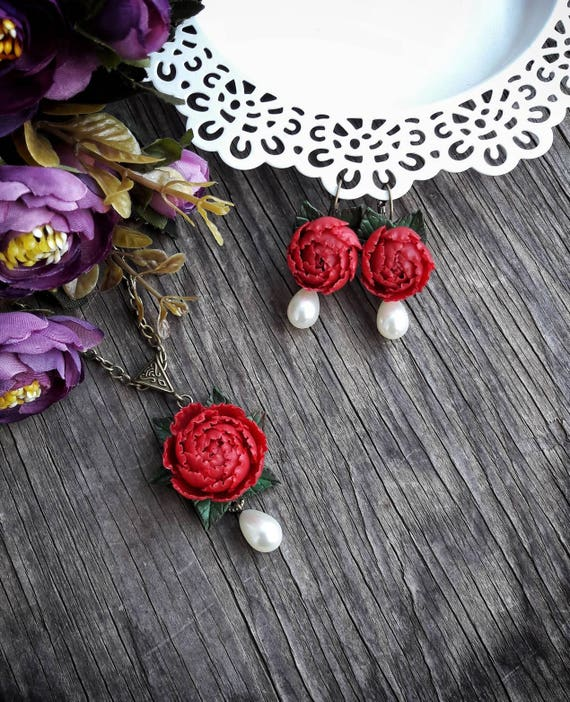 Wedding set red peonies handmade polymer clay Gift for the bride Decoration for the wedding Birthday Christmas Necklace Earrings Bracelet