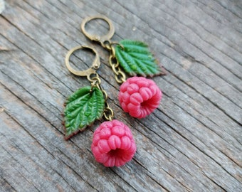 Raspberry Earrings Polymer Clay Handmade. Berries Jewelry. Realistic Food Jewelry. Summer Earrings. Best Friend Gift. Earrings Dangle.