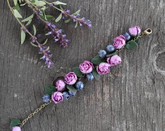 Polymer clay peony and blueberry bracelet,  handmade jewelry,  handmade gifts,  gift idea,  polymer clay bracelet, polymer clay flowers