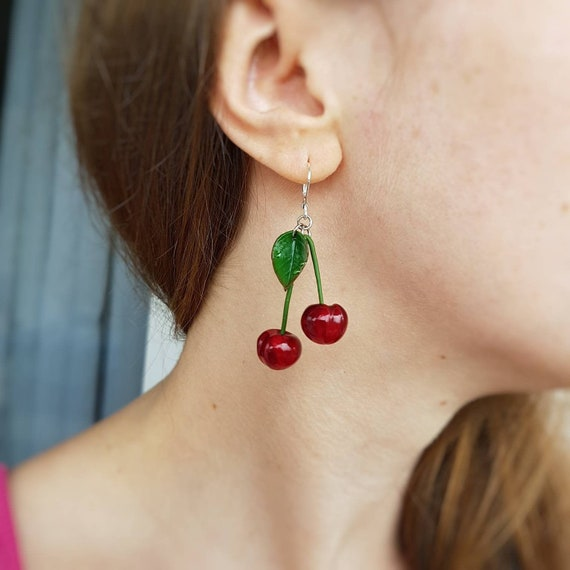 Cherry bowl earrings Lacy woven ceramic bowl drop earrings Cherry red earrings