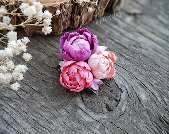 Peony Brooch. Polymer Clay Brooch. Handmade Brooch. Floral Jewelry. Clay Flowers. Gift For Mom. Realistic Flower. Blossom jewelry.